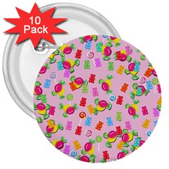 Candy Pattern 3  Buttons (10 Pack)  by Valentinaart