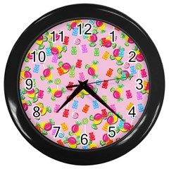 Candy Pattern Wall Clocks (black) by Valentinaart