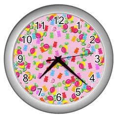 Candy Pattern Wall Clocks (silver)  by Valentinaart
