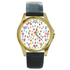 Candy Pattern Round Gold Metal Watch by Valentinaart