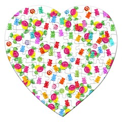Candy Pattern Jigsaw Puzzle (heart) by Valentinaart