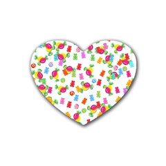 Candy Pattern Heart Coaster (4 Pack)  by Valentinaart