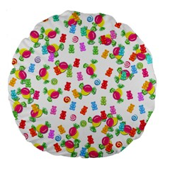Candy Pattern Large 18  Premium Flano Round Cushions by Valentinaart