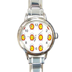 Alarm Clock Time Circle Orange Hour Round Italian Charm Watch