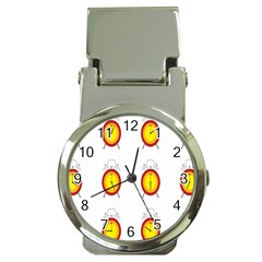 Alarm Clock Time Circle Orange Hour Money Clip Watches by Mariart