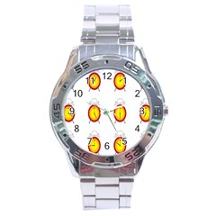 Alarm Clock Time Circle Orange Hour Stainless Steel Analogue Watch by Mariart