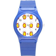Alarm Clock Time Circle Orange Hour Round Plastic Sport Watch (s) by Mariart