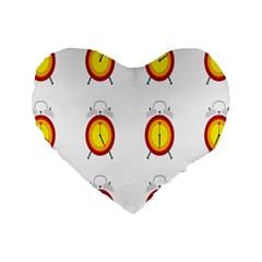 Alarm Clock Time Circle Orange Hour Standard 16  Premium Heart Shape Cushions by Mariart