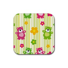 Animals Bear Flower Floral Line Red Green Pink Yellow Sunflower Star Rubber Square Coaster (4 Pack)  by Mariart
