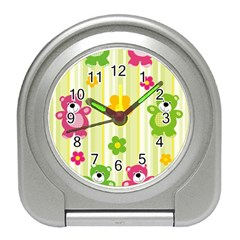 Animals Bear Flower Floral Line Red Green Pink Yellow Sunflower Star Travel Alarm Clocks by Mariart