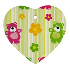 Animals Bear Flower Floral Line Red Green Pink Yellow Sunflower Star Heart Ornament (two Sides) by Mariart