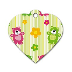 Animals Bear Flower Floral Line Red Green Pink Yellow Sunflower Star Dog Tag Heart (one Side) by Mariart