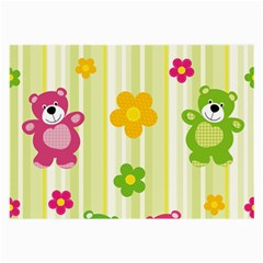 Animals Bear Flower Floral Line Red Green Pink Yellow Sunflower Star Large Glasses Cloth (2 Side) by Mariart