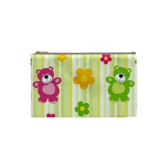 Animals Bear Flower Floral Line Red Green Pink Yellow Sunflower Star Cosmetic Bag (small)  by Mariart