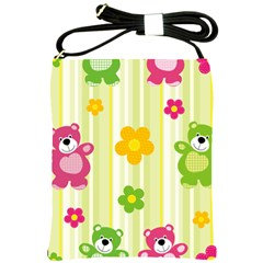 Animals Bear Flower Floral Line Red Green Pink Yellow Sunflower Star Shoulder Sling Bags by Mariart