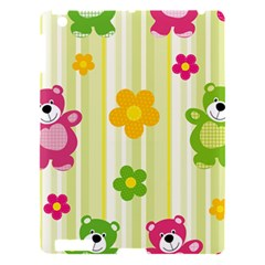Animals Bear Flower Floral Line Red Green Pink Yellow Sunflower Star Apple Ipad 3/4 Hardshell Case by Mariart