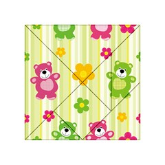 Animals Bear Flower Floral Line Red Green Pink Yellow Sunflower Star Acrylic Tangram Puzzle (4  X 4 ) by Mariart