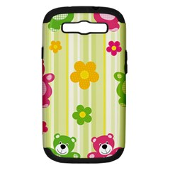 Animals Bear Flower Floral Line Red Green Pink Yellow Sunflower Star Samsung Galaxy S Iii Hardshell Case (pc+silicone) by Mariart