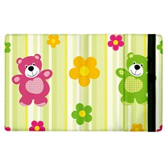 Animals Bear Flower Floral Line Red Green Pink Yellow Sunflower Star Apple Ipad 3/4 Flip Case by Mariart