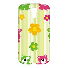 Animals Bear Flower Floral Line Red Green Pink Yellow Sunflower Star Samsung Galaxy S4 I9500/i9505 Hardshell Case by Mariart