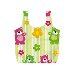 Animals Bear Flower Floral Line Red Green Pink Yellow Sunflower Star Full Print Recycle Bags (s)  by Mariart