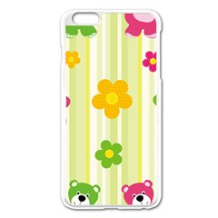 Animals Bear Flower Floral Line Red Green Pink Yellow Sunflower Star Apple Iphone 6 Plus/6s Plus Enamel White Case by Mariart