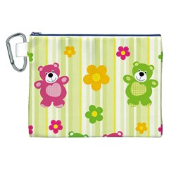Animals Bear Flower Floral Line Red Green Pink Yellow Sunflower Star Canvas Cosmetic Bag (xxl) by Mariart