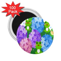 Animals Frog Face Mask Green Flower Floral Star Leaf Music 2 25  Magnets (100 Pack)  by Mariart