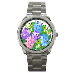 Animals Frog Face Mask Green Flower Floral Star Leaf Music Sport Metal Watch by Mariart