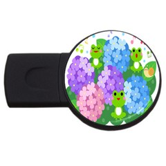 Animals Frog Face Mask Green Flower Floral Star Leaf Music Usb Flash Drive Round (4 Gb) by Mariart