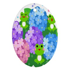Animals Frog Face Mask Green Flower Floral Star Leaf Music Oval Ornament (two Sides) by Mariart