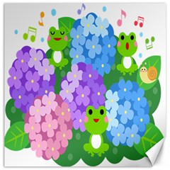 Animals Frog Face Mask Green Flower Floral Star Leaf Music Canvas 16  X 16   by Mariart