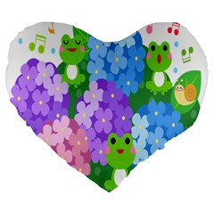 Animals Frog Face Mask Green Flower Floral Star Leaf Music Large 19  Premium Flano Heart Shape Cushions by Mariart