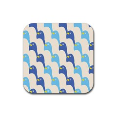 Animals Penguin Ice Blue White Cool Bird Rubber Square Coaster (4 Pack)  by Mariart