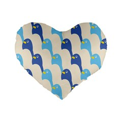 Animals Penguin Ice Blue White Cool Bird Standard 16  Premium Flano Heart Shape Cushions by Mariart