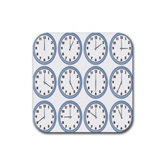 Alarm Clock Hour Circle Rubber Coaster (square)  by Mariart