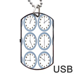 Alarm Clock Hour Circle Dog Tag Usb Flash (one Side) by Mariart