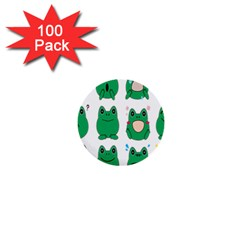 Animals Frog Green Face Mask Smile Cry Cute 1  Mini Buttons (100 Pack)  by Mariart