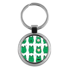 Animals Frog Green Face Mask Smile Cry Cute Key Chains (round)  by Mariart