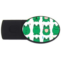 Animals Frog Green Face Mask Smile Cry Cute Usb Flash Drive Oval (2 Gb) by Mariart