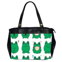 Animals Frog Green Face Mask Smile Cry Cute Office Handbags (2 Sides)  by Mariart