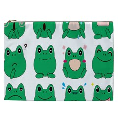 Animals Frog Green Face Mask Smile Cry Cute Cosmetic Bag (xxl)  by Mariart