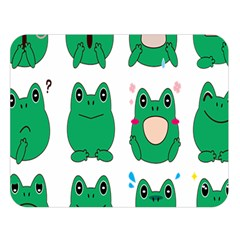 Animals Frog Green Face Mask Smile Cry Cute Double Sided Flano Blanket (large)  by Mariart