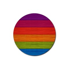Wooden Plate Color Purple Red Orange Green Blue Rubber Coaster (round)  by Mariart