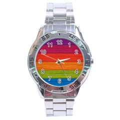 Wooden Plate Color Purple Red Orange Green Blue Stainless Steel Analogue Watch by Mariart