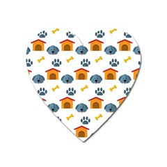 Bone House Face Dog Heart Magnet by Mariart