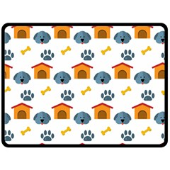 Bone House Face Dog Double Sided Fleece Blanket (large)  by Mariart