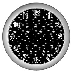 Black Star Space Wall Clocks (silver)  by Mariart