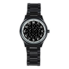 Black Star Space Stainless Steel Round Watch by Mariart