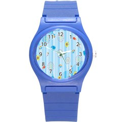 Animals Whale Sunflower Ship Flower Floral Sea Beach Blue Fish Round Plastic Sport Watch (s) by Mariart